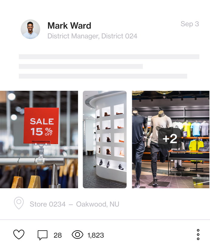 Screenshot of Foko Retail Software channel post with an image carousel of multiple different retail store displays