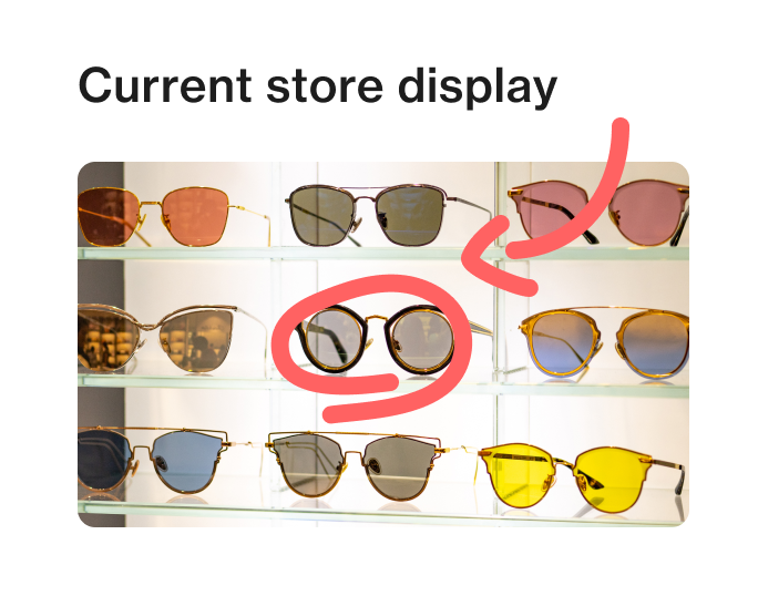 Screenshot of retail audit software Foko Retail image post of an eyewear store display that has been marked up for review