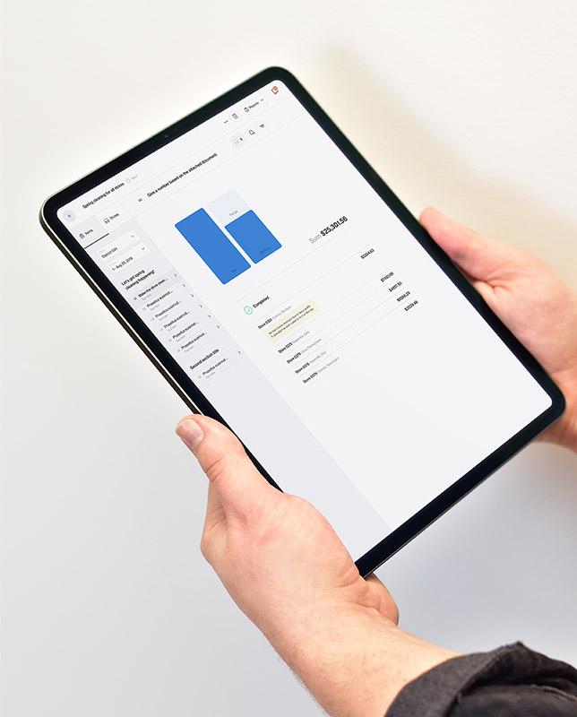 Retail merchandising software Foko Retail displaying a bar graph on tablet