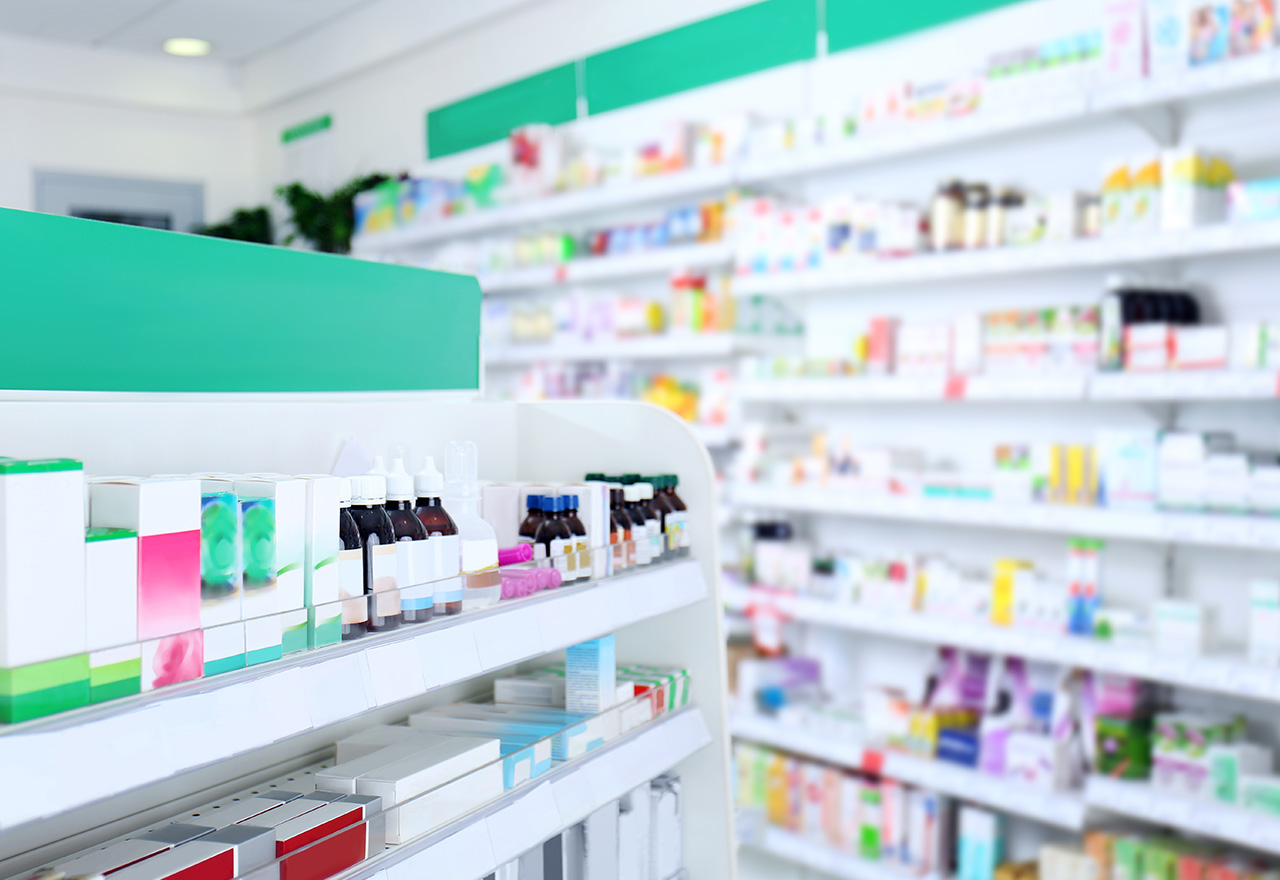 Various drugstore merchandise arranged on shelves
