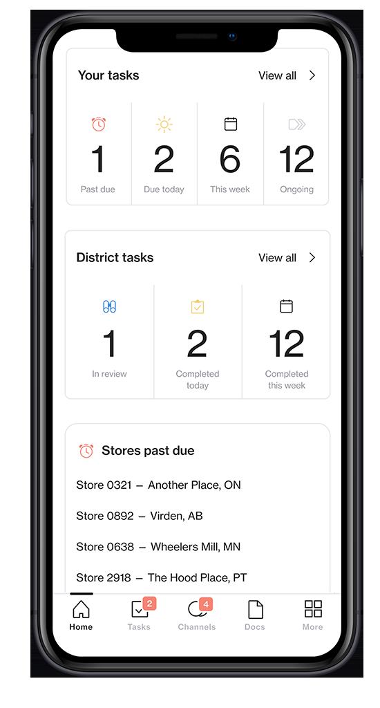 Screenshot of visual merchandising software Foko Retail task overview on a smartphone
