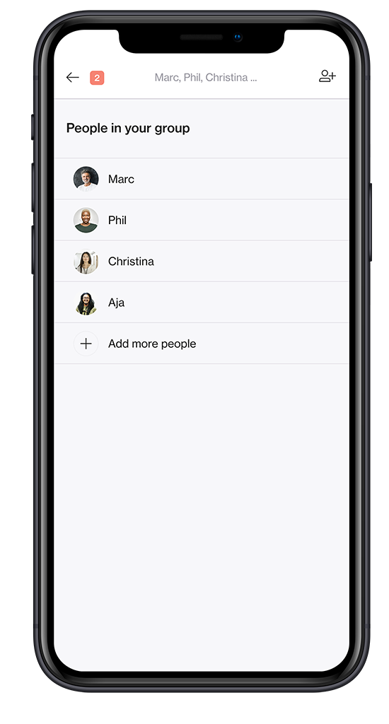 Screenshot of store management software Foko Retail group chat list on a smartphone