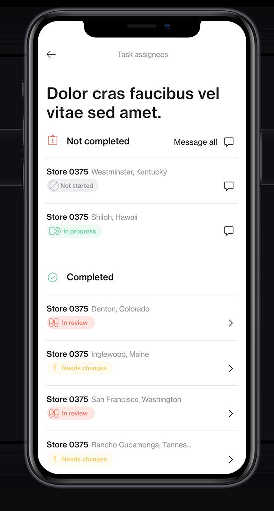 Screenshot of mobile merchandising app Foko Retail task list on a smartphone