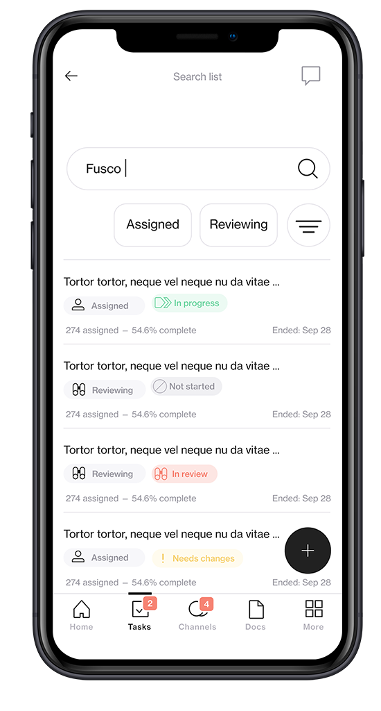 Screenshot of visual merchandising solution Foko Retail task on a smartphone