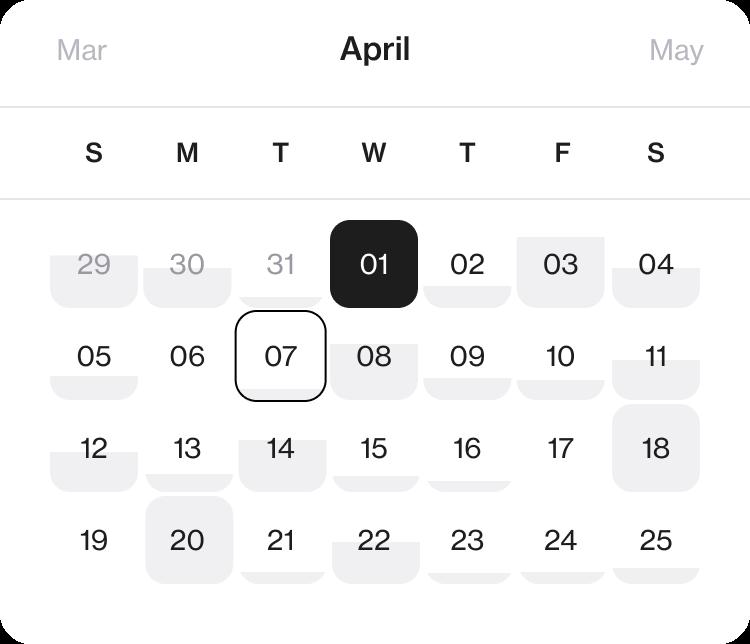 Store task management app Foko Retail calendar view for April
