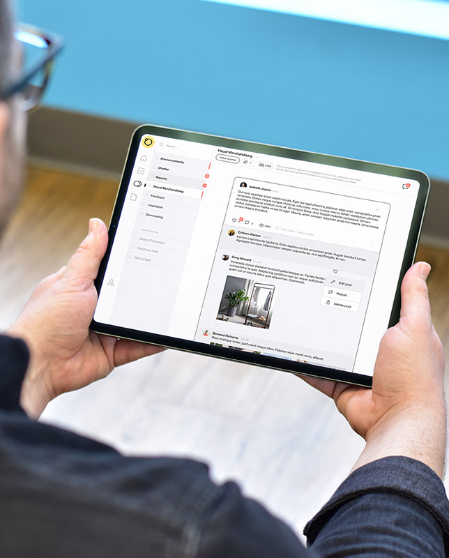 Store management software Foko Retail being looked at by a store associate on tablet