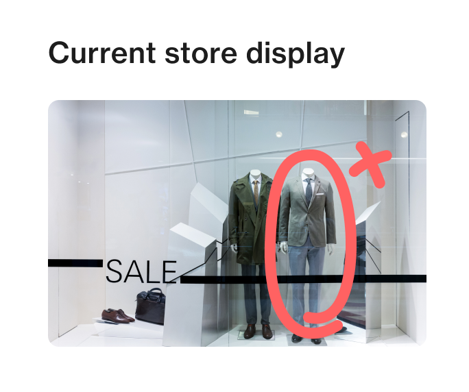 Mobile merchandising app Foko Retail image markup post of two mannequins in a window display