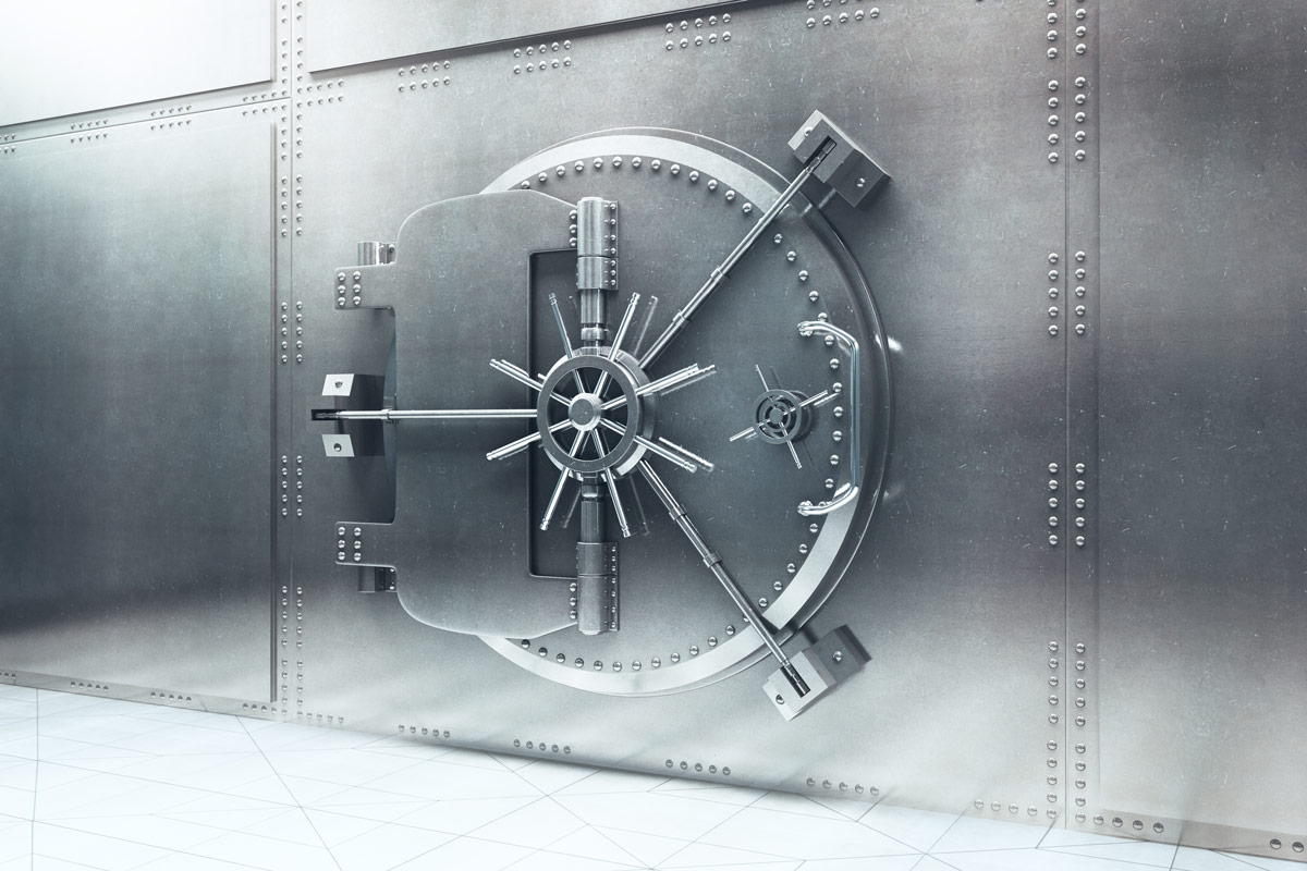 Outside a closed bank vault