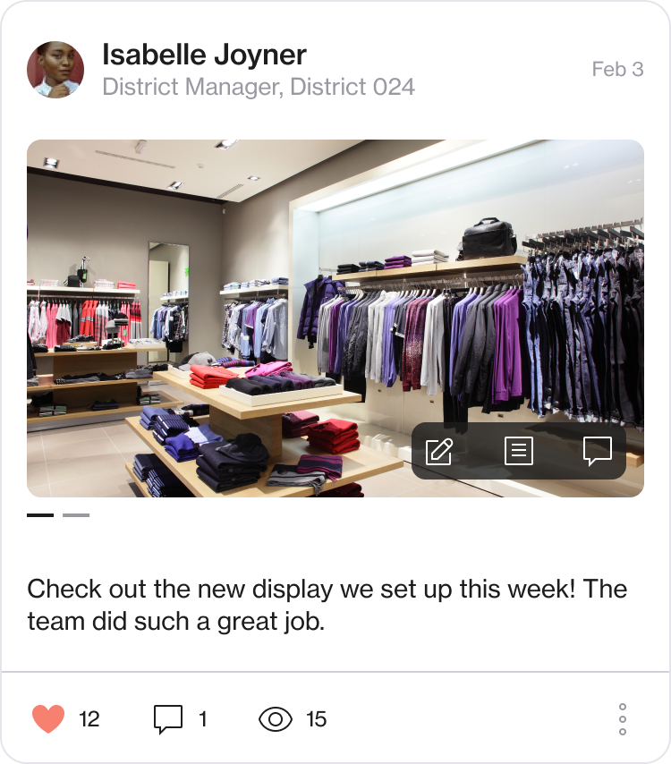 Screenshot of a channel post about a new display