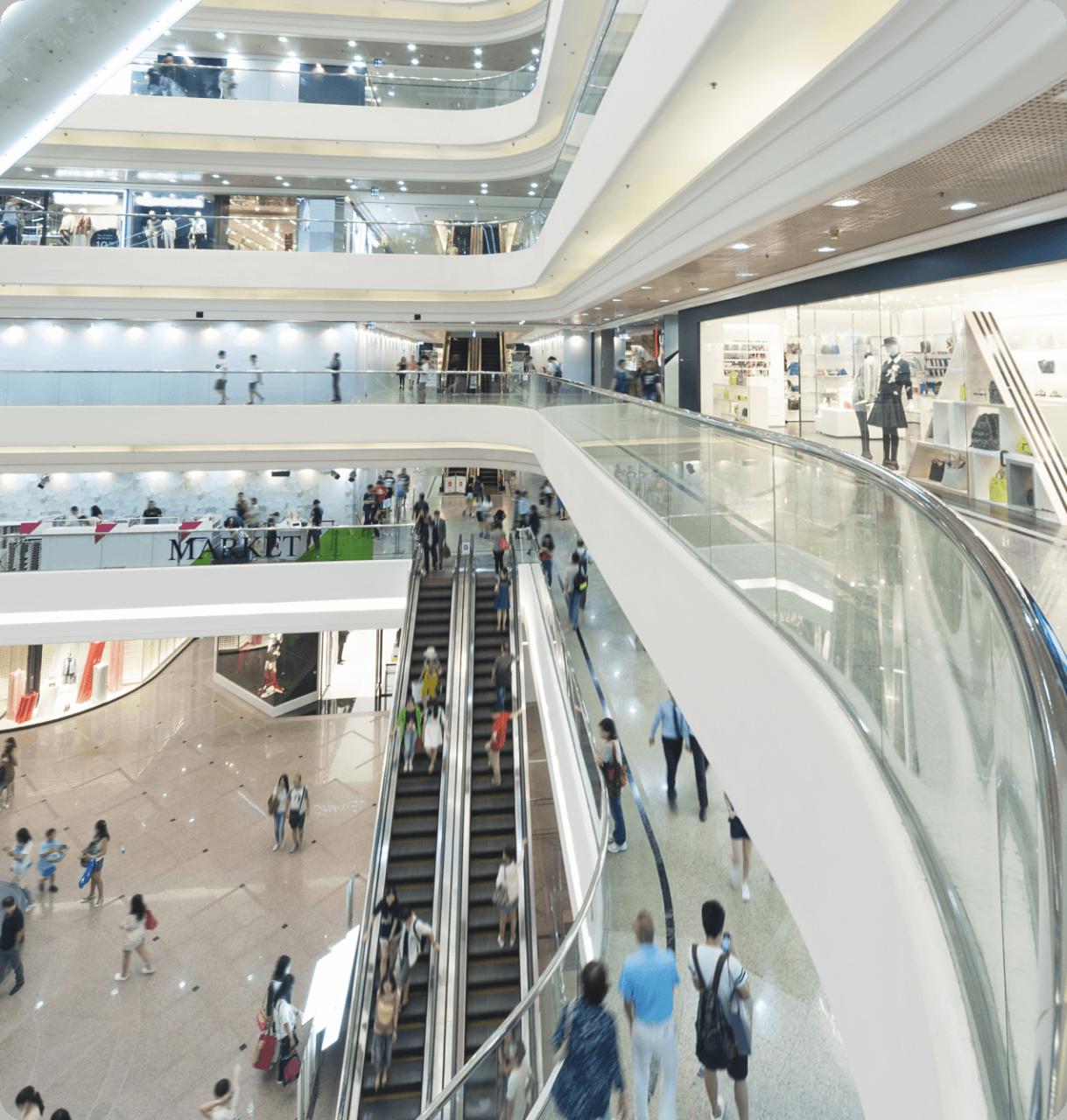 Inside a shopping mall