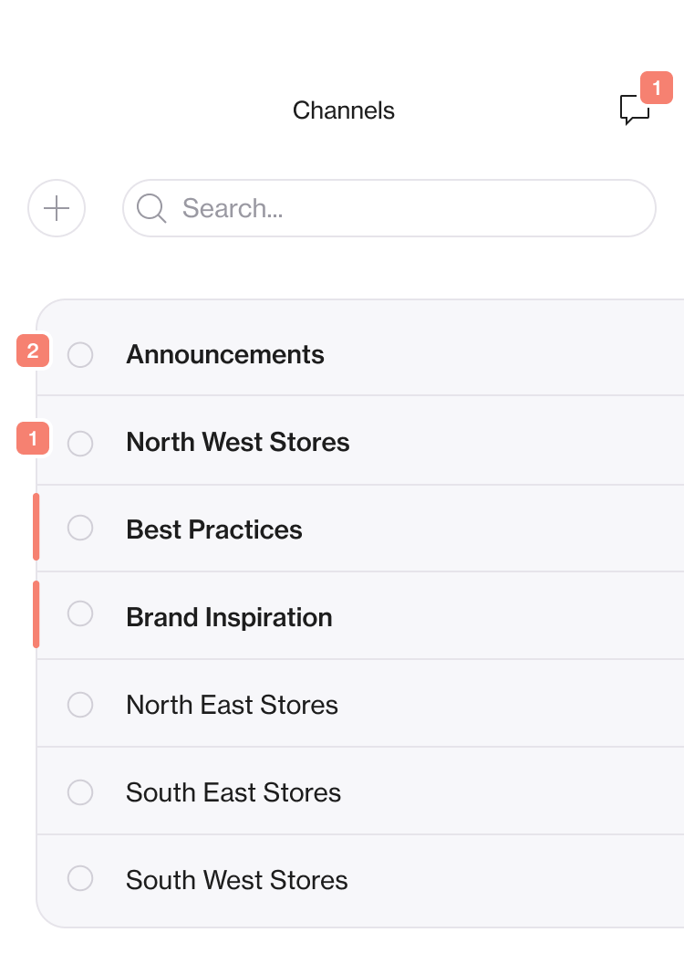 Screenshot of a list of channels within the Foko app