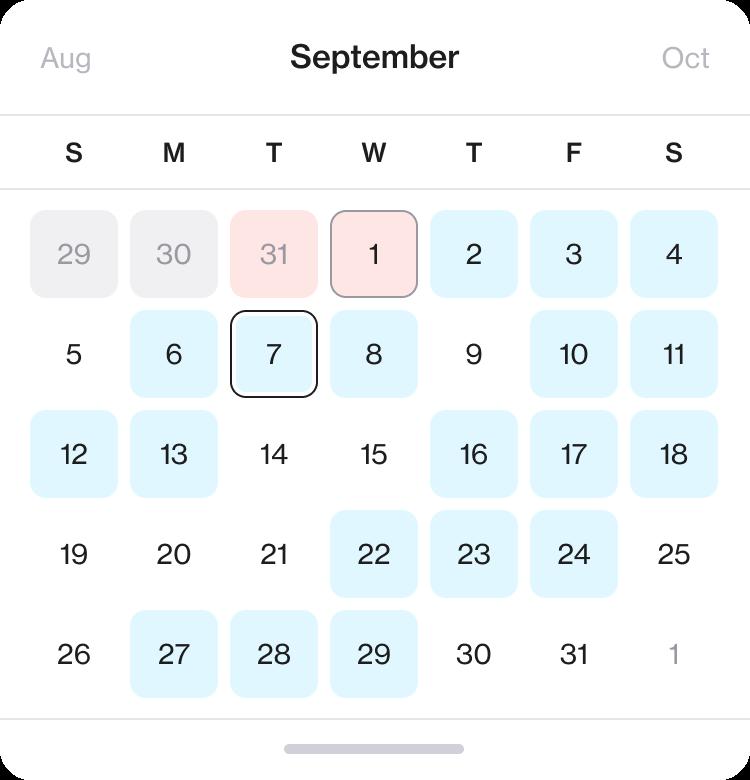 Screenshot of a calendar overview for September