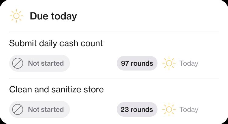 Screenshot of tasks due today