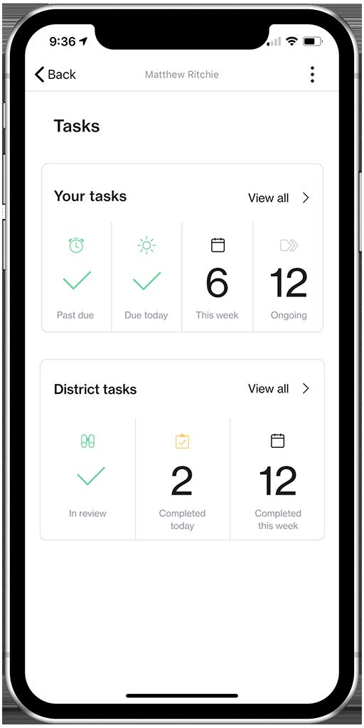 Screenshot of Tasks overview