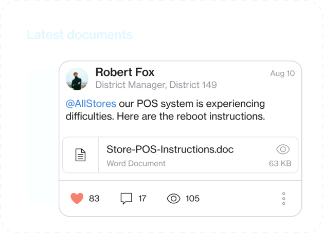 Screenshot of a post to all stores sharing a document