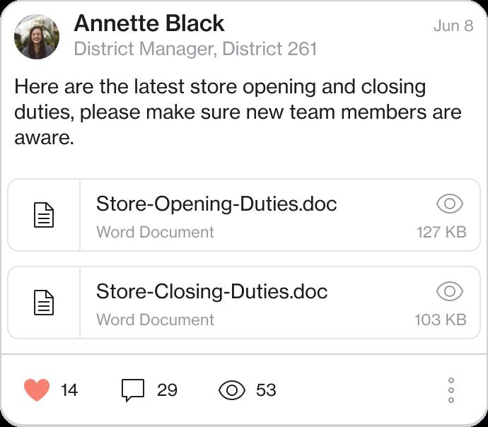 Screenshot of a post sharing documents